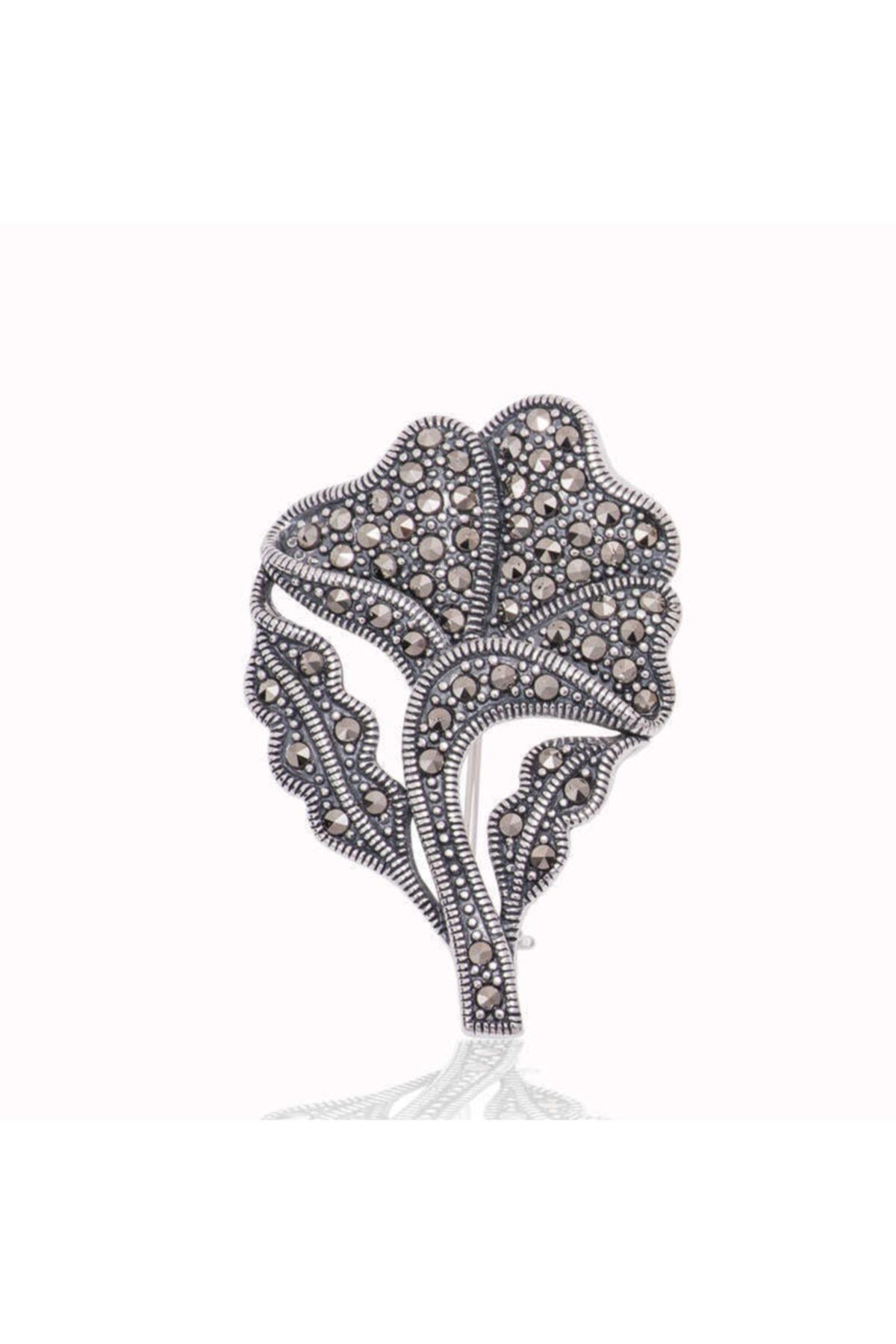 Gumush Kadın Gümüş Markazit Taşlı Yaprak Broş 1