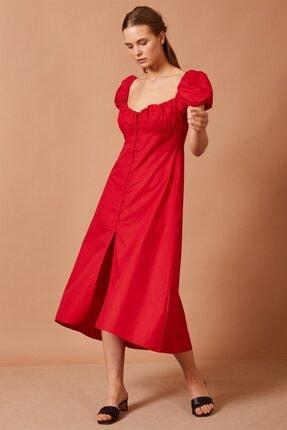 Never more Balon Kol Kırmızı Elbise