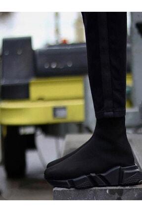 CSled Unisex Siyah Beyaz Çoraplı Yüksek Taban Sneakers Ayakkabı
