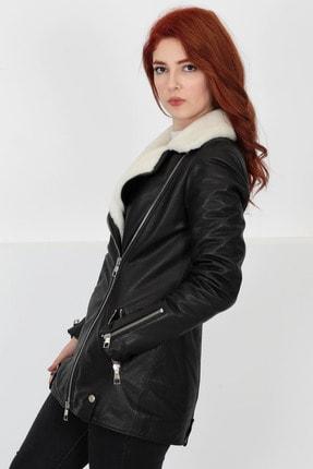 By Marki Marki Kadın Siyah Deri Kürk Yakalı Ceket