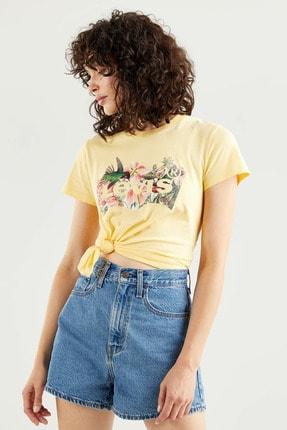 Levi's Kadın The Perfect Tee Batwing Fill Hummingbird Sarı/Turuncu Kadın Tişört 1736912640