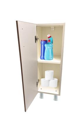 Durusilya Mobilya Çok Amaçlı Dolap Tek Kapaklı 2 Raflı Banyo Balkon Mutfak Dolabı