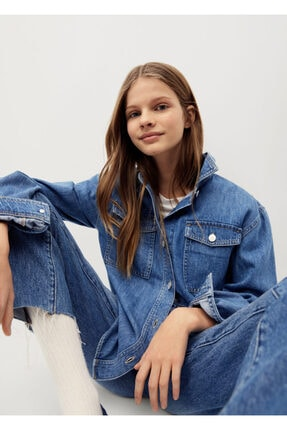 MANGO Kids Kadın Mavi Cepli Kot Gömlek Ceket
