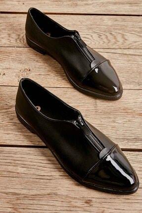 Bambi Siyah Rugan Kadın Oxford Ayakkabı K01641160009