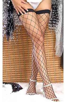 Merry See Geniş File Jartiyer Çorabı Siyah