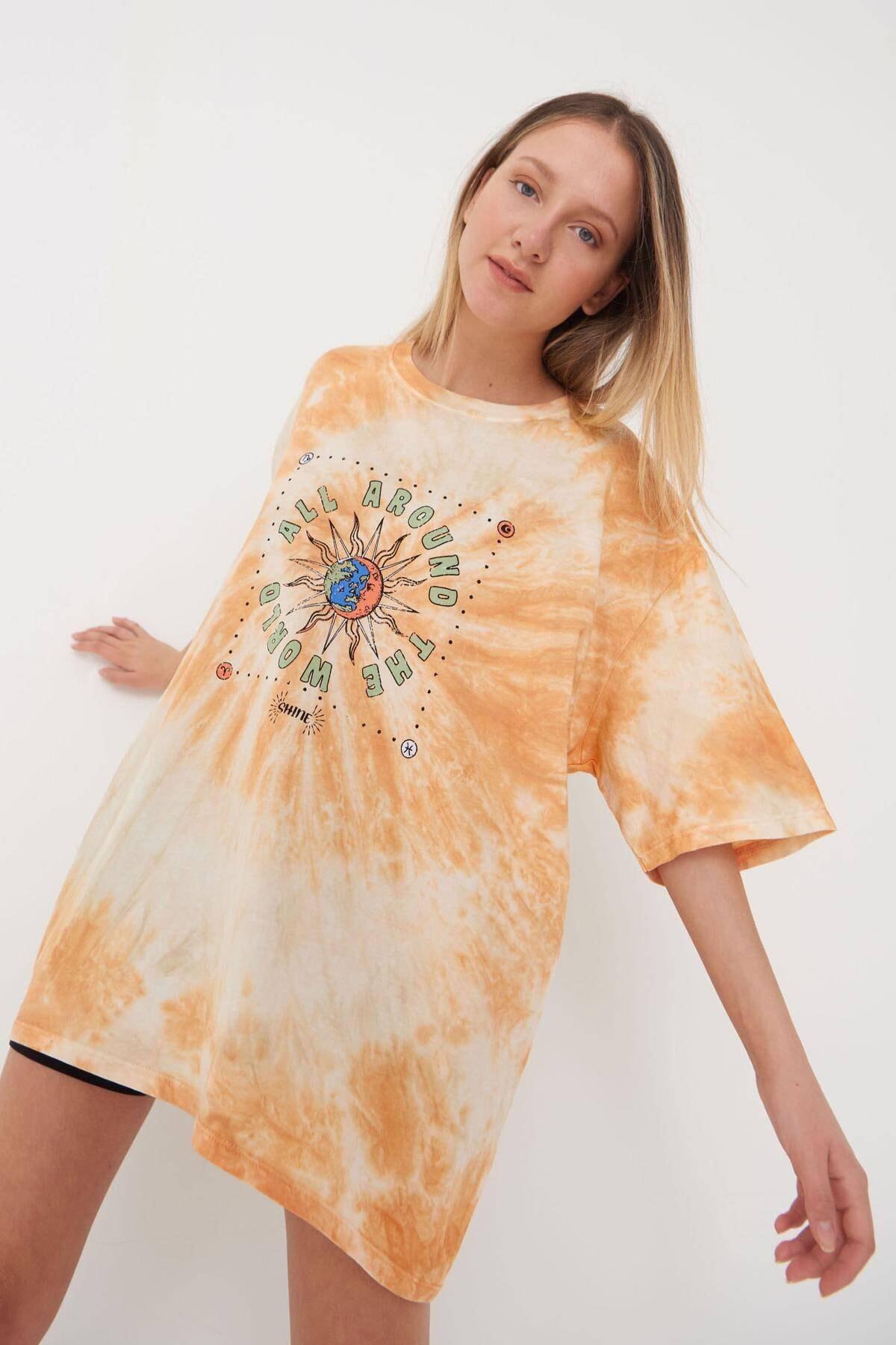 Addax Kadın Batik Oranj Baskılı T-Shirt P9561 - L3 Adx-0000024146