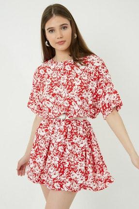 Vis a Vis Kadın Kırmızı Beyaz Desenli Rahat Kesim Elbise Stn233Kel125