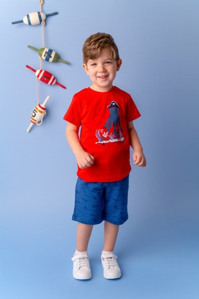 Zeyland Kırmızı Ahtapot Baskılı T-shirt (9AY-4YAŞ)