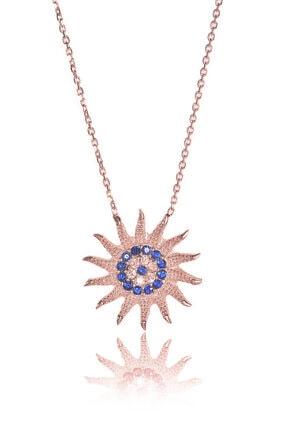 BY BARUN SİLVER Kadın Rose Güneş Nazar Boncuklu  Gümüş Kolye