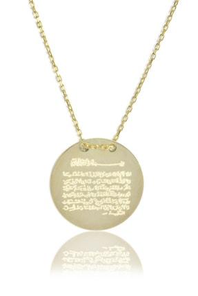 BY BARUN SİLVER Kadın 925 Ayar Gümüş  Ayetel Kursi Kolye - Sarı Altın KL-0127