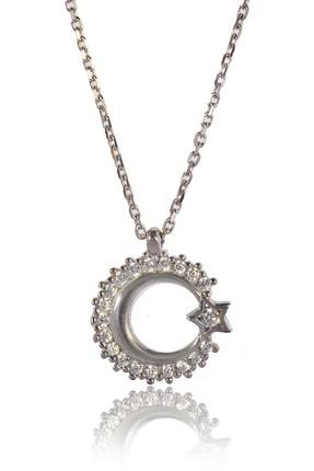 BY BARUN SİLVER Kadın Rose 925 Ayar Gümüş  Ay Yıldız Kolye