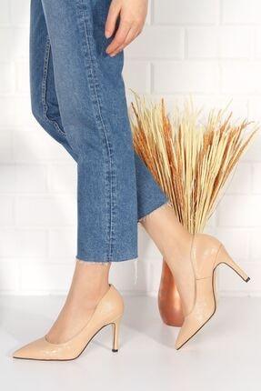 derithy Kadın Bej Topuklu Ayakkabı Rugan Byc2001