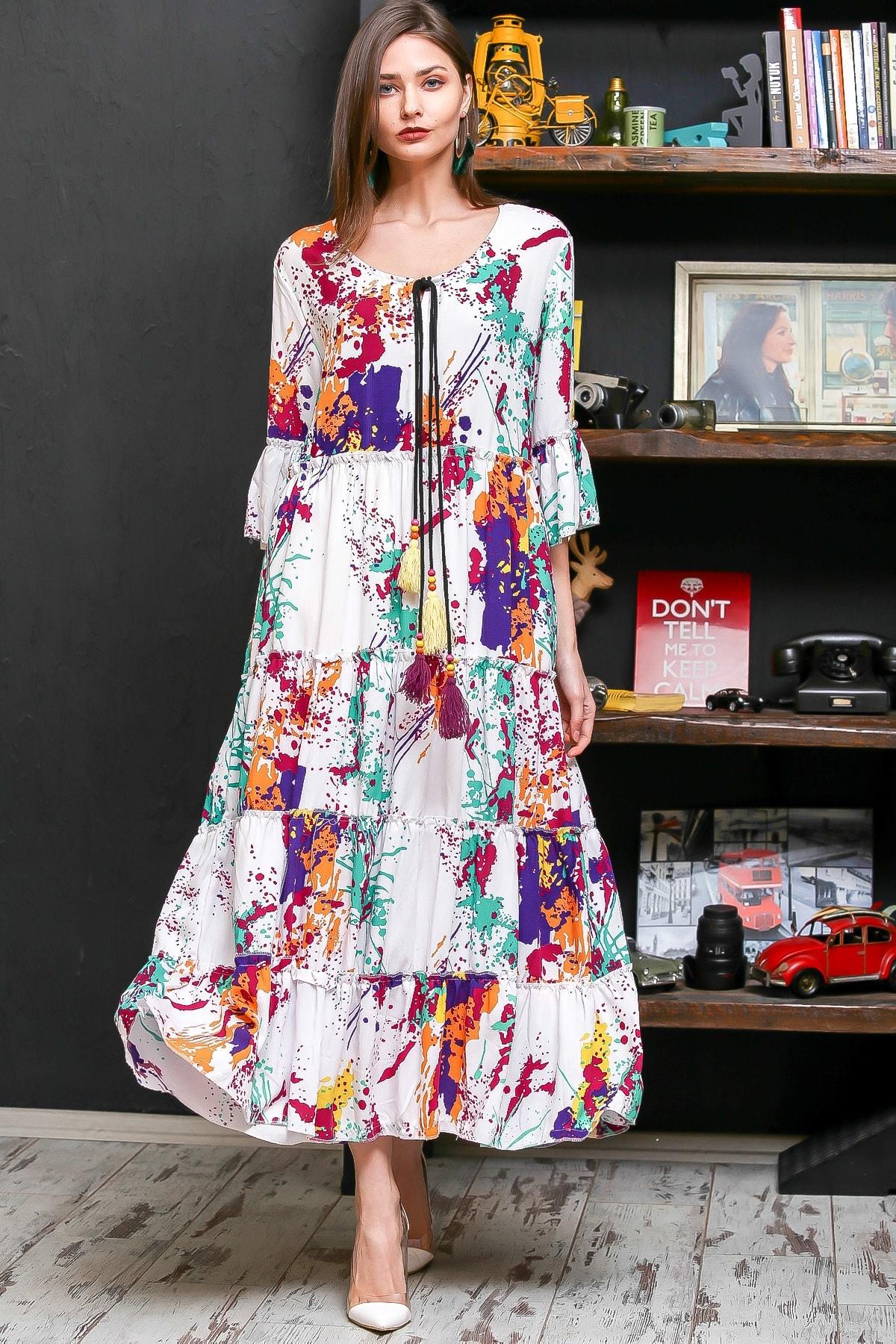 Chiccy Kadın Beyaz Fırça Desen Püsküllü Bağcıklı Salaş Dokuma Elbise M10160000EL95926