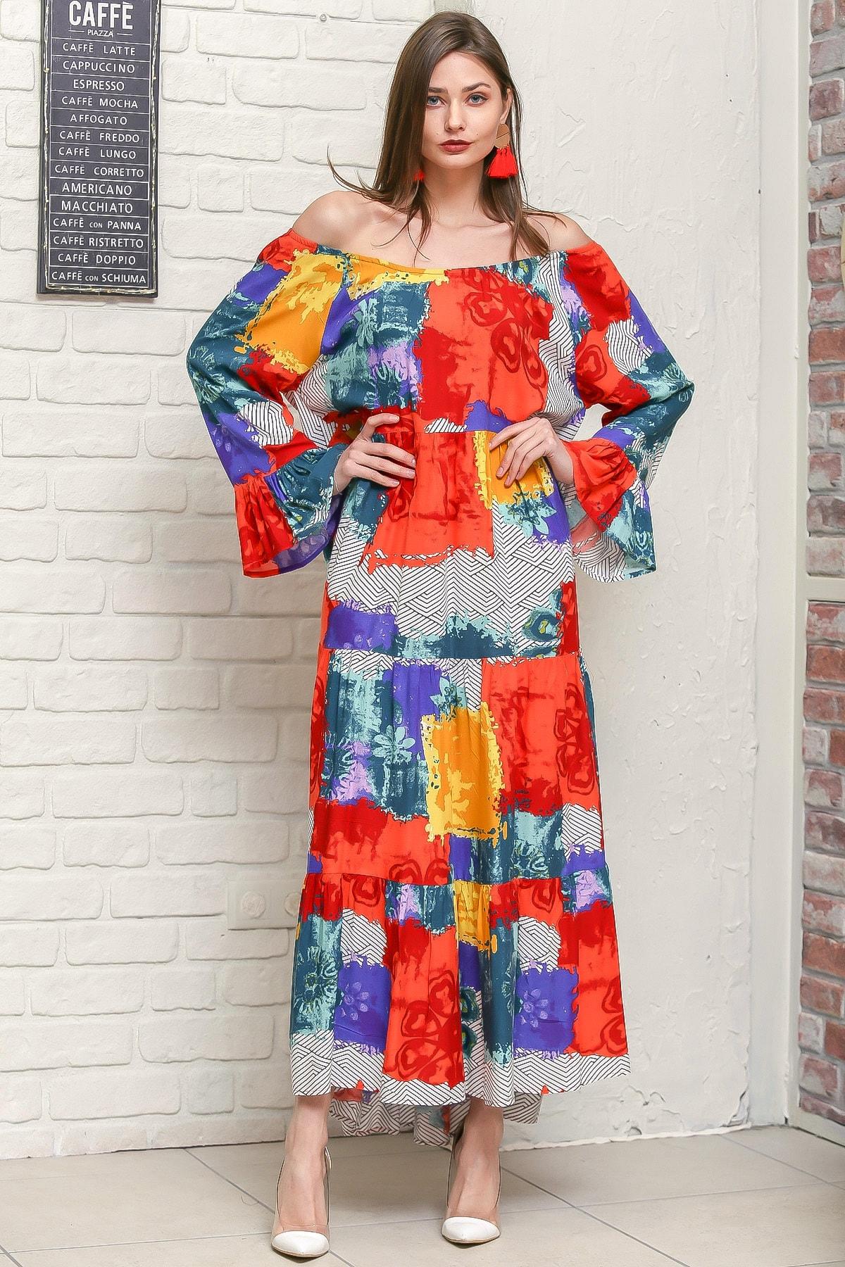 Chiccy Kadın Turuncu Carmen Yaka Kol Ucu Volanlı Geometrik Desenli Salaş Dokuma Elbise M10160000EL95905