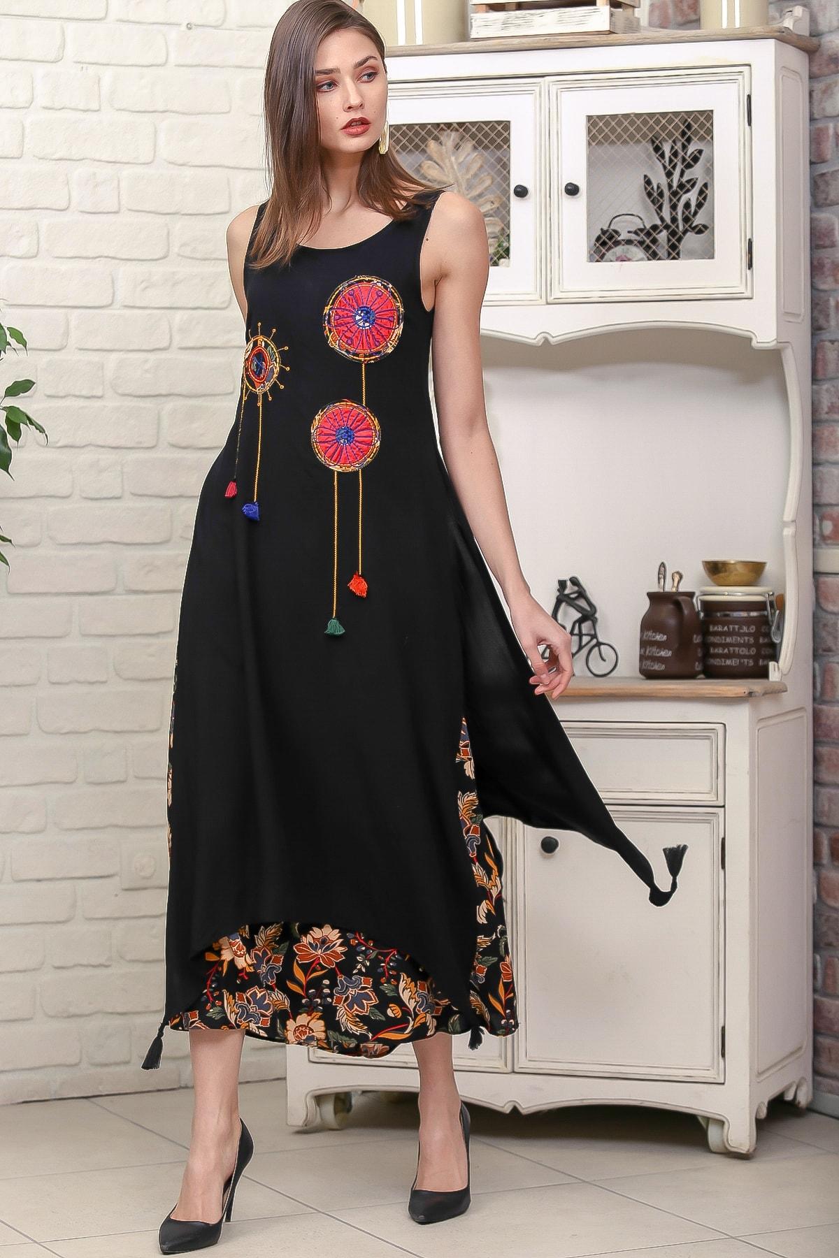 Chiccy Kadın Siyah Gelincik Nakışlı İki Katlı Üst Parça Yırtmaçlı Dokuma Elbise M10160000EL95879