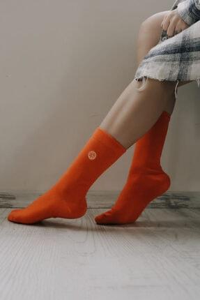 ADEL ÇORAP Kadın Turuncu Portakal Emoji Desenli Çorap