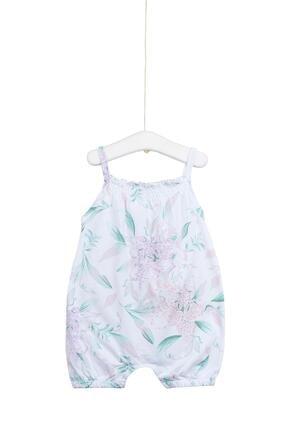 Aziz Bebe Kız Bebek Beyaz Askılı Çiçek Desenli Tulum Azz006634