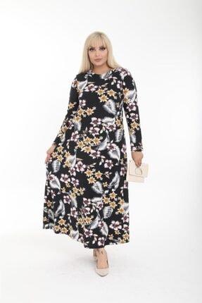 Pelek Butik Büyük Beden Çiçek Desen Elbise Pe495