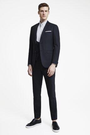 D'S Damat Erkek Siyah  Tween Slim Fit Yelekli Takım Elbise