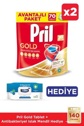 Pril Gold Bulaşık Makinesi Tableti 70'li Mix 2li / Antibakteriyel Islak Mendil Hediye