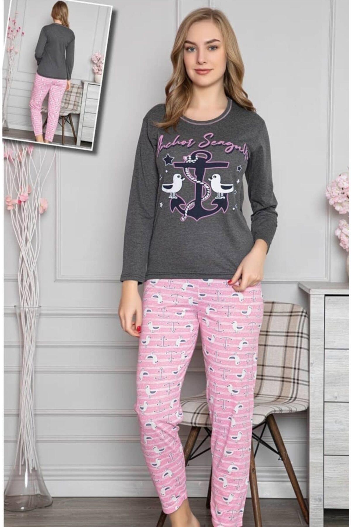 Rüyam Kadın Çapa Baskılı Uzun Kol Pijama Takım 2