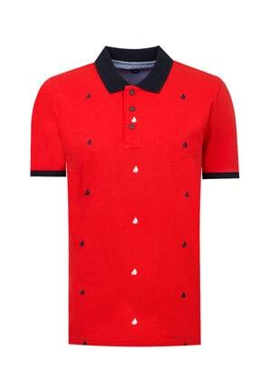 D'S Damat Slim Fit Kırmızı Desenli T-shirt
