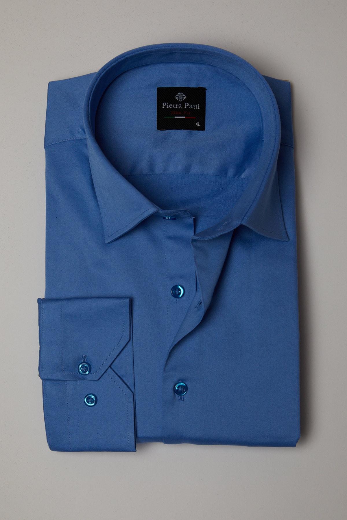 Pietra Paul Slim Fit Düz Likralı Saten Erkek Gömlek 1