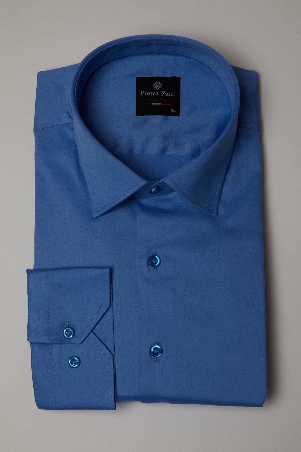 Pietra Paul Slim Fit Düz Likralı Saten Erkek Gömlek 2