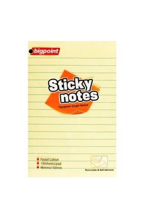 Bigpoint Yapışkanlı Not Kağıdı Çizgili 100x150mm Sarı 6'lı Paket