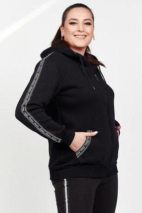 Womenice Kadın Siyah Kolu Cebi Taşlı Polar Büyük Beden Sweatshirt