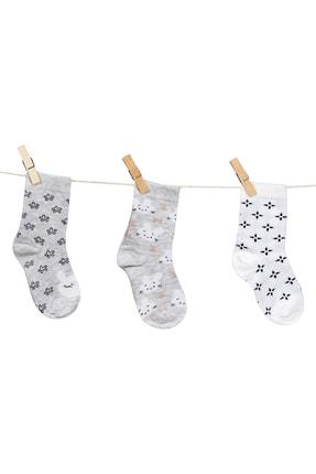 Aziz Bebe Kız Çocuk Dikişsiz 3'lü Çorap 4-6 Yaş Azzc35600