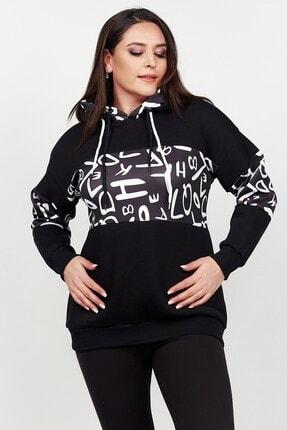 Womenice Kadın Siyah Kolu Önü Harf Polar Büyük Beden Sweatshirt