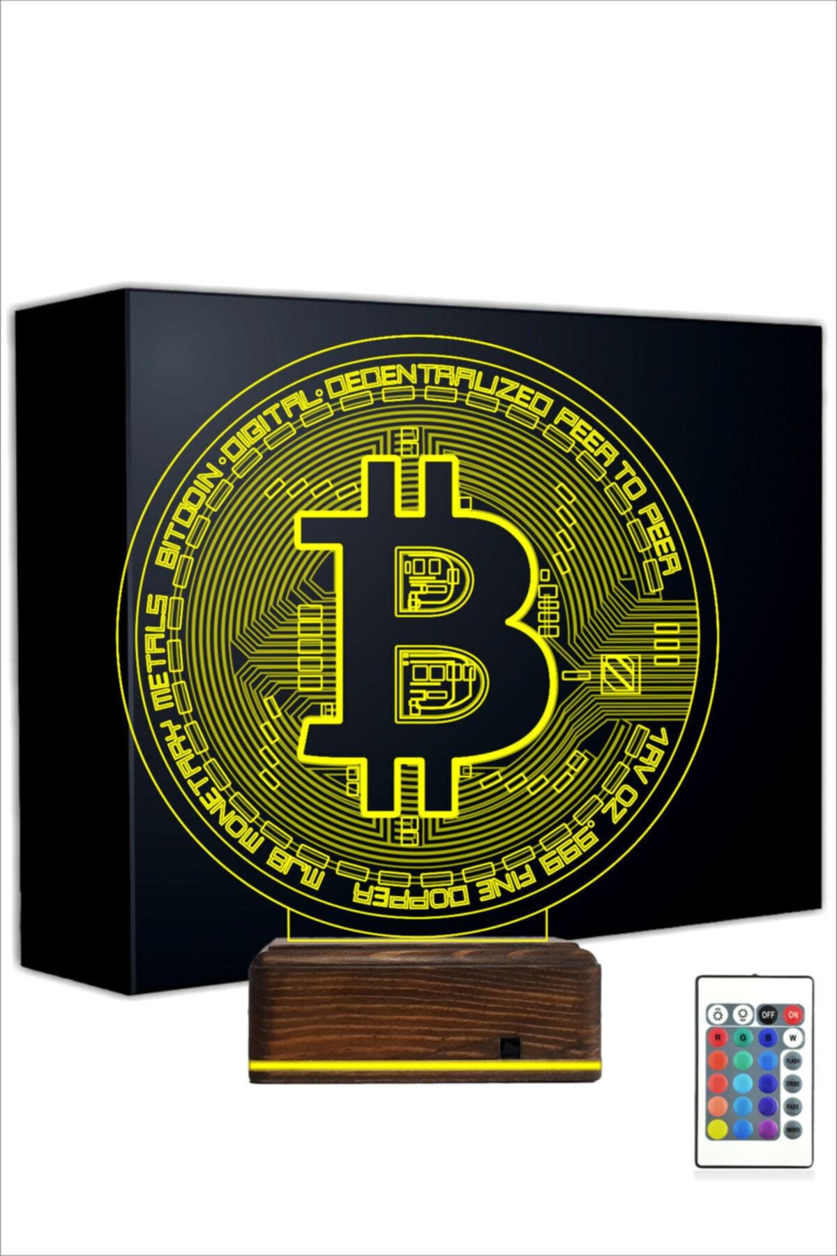 TahtaModa 3d Ilüzyon Led Lamba 16 Renk Bitcoin Btc Kripto Para Tasarım 1