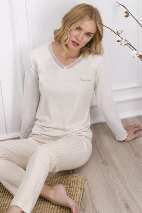 Pierre Cardin Krem Kadın Uzun Kol Pijama Takımı