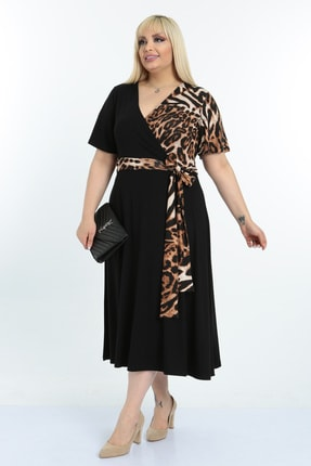 Mooi XXL Kadın Siyah  Desenli Kruvaze Yaka Büyük Beden Elbise