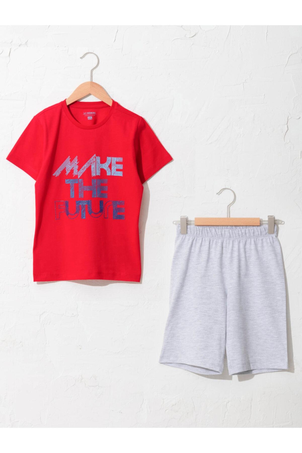 LC Waikiki Erkek Çocuk Kırmızı Baskılı Pijama Takımı 1