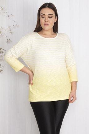 Şans Kadın Sarı Çizgi Detaylı Kapri Kol Bluz 65N22303