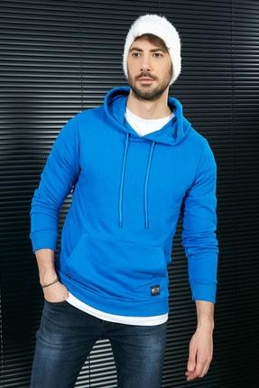 Sateen Men Erkek Sax Mavi Kanguru Cep Sweatshirt