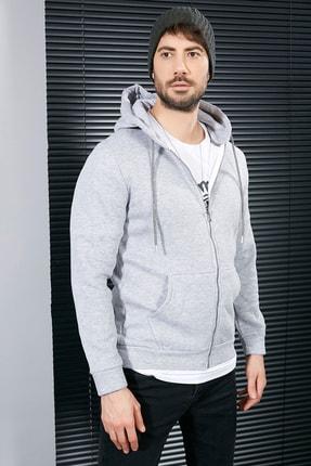 Sateen Men Erkek Gri Fermuarlı Kanguru Cep Sweatshirt