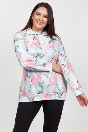 Womenice Kadın Beyaz Renk Desenli Büyük Beden Sweatshirt