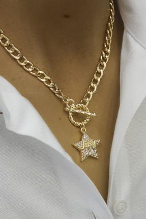 Marjin Kadın Altın Renkli Taşlı Yıldız Figürlü Juicy Yazılı Zincir Kolyealtın
