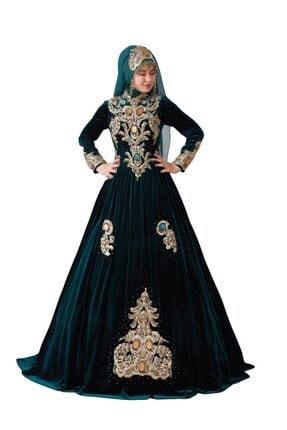 Ceyyiz Kadın Yeşil Büyük Taşlı Tesettür Bindallı Kına Elbisesi