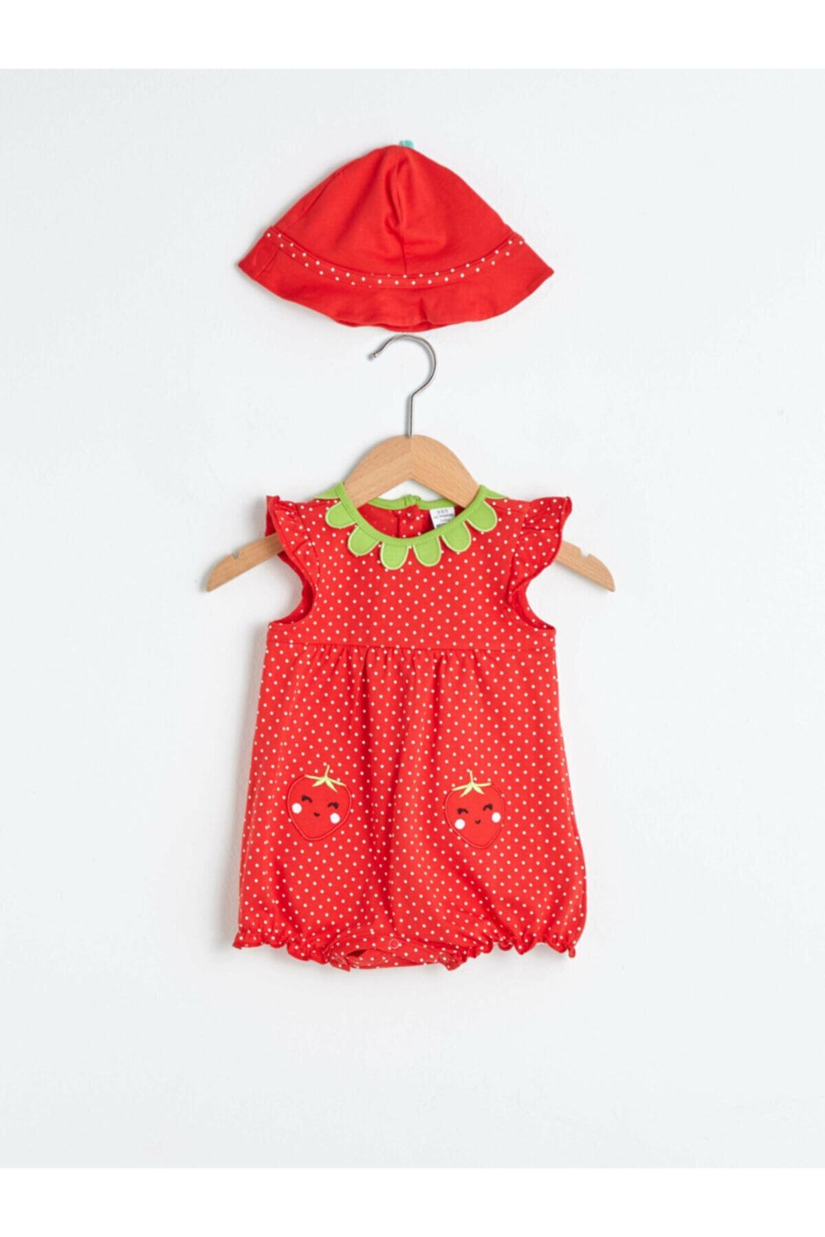 LC Waikiki Kız Bebek Kırmızı Desenli Tulum 1