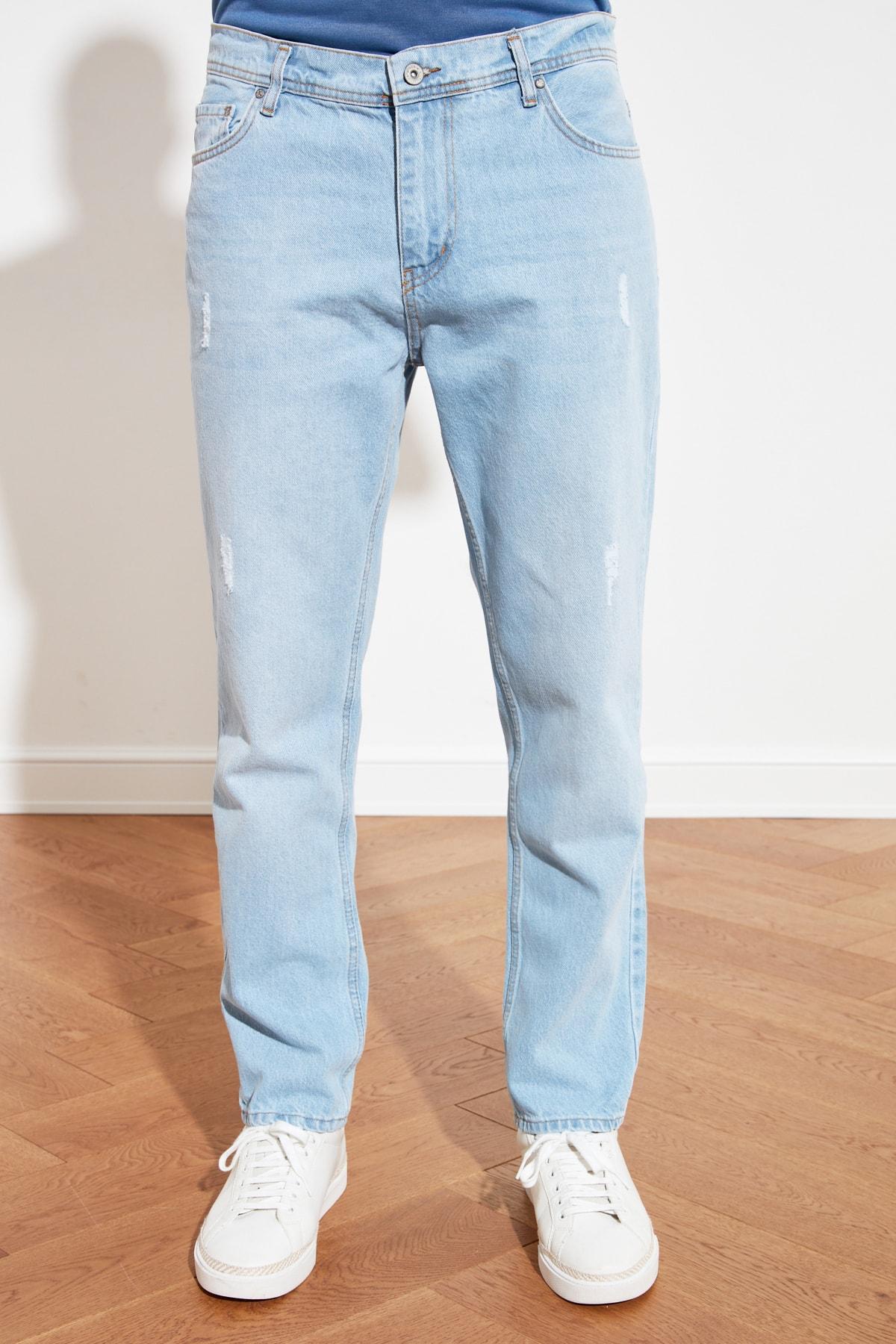 TRENDYOL MAN Mavi Erkek Destroylu Relax Fit Jeans TMNSS21JE0129 2