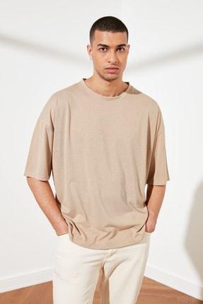TRENDYOL MAN Taş Basic Erkek Oversize Bisiklet Yaka Kısa Kollu T-Shirt TMNSS21TS0811