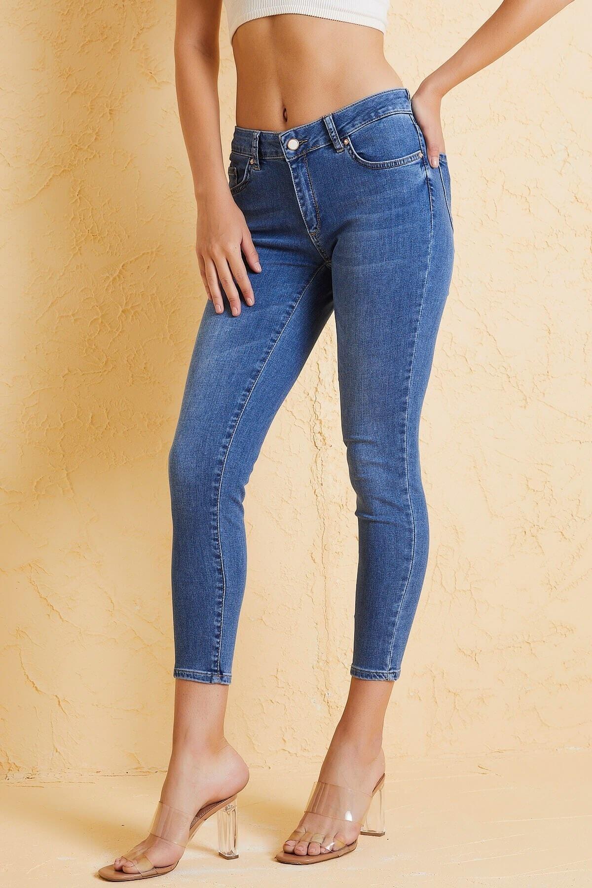 Twister Jeans Kadın Slim Fit Orta Bel Pantolon Lıma 9046-79 Mavı 2
