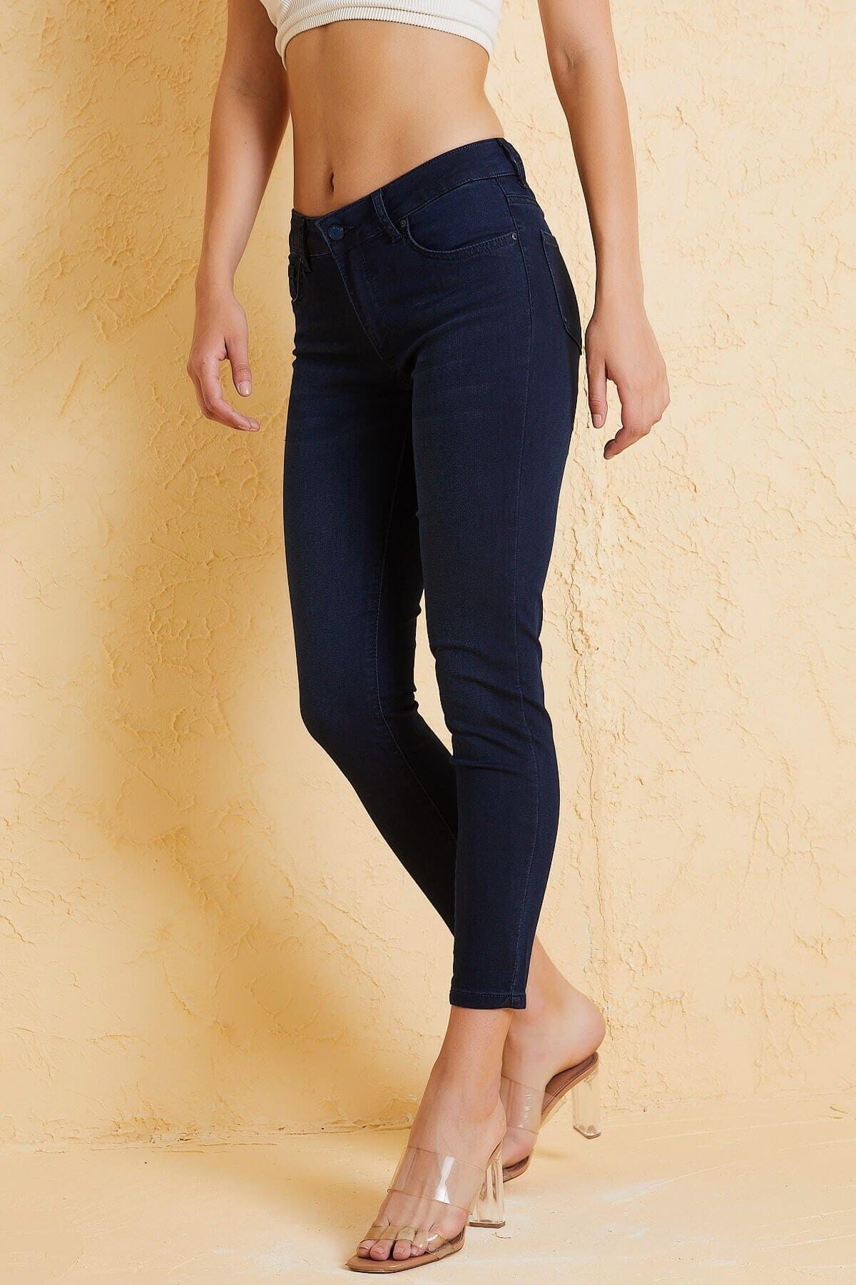Twister Jeans Kadın Slim Fit Orta Bel Pantolon Lıma 9046-78 Mavı 2
