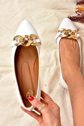 Fox Shoes Kadın Beyaz Zincirli Babet K726083109