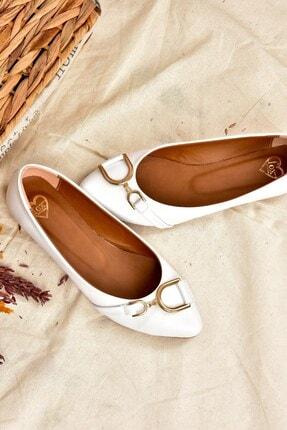Fox Shoes Kadın Beyaz Tokalı Babet K726084809