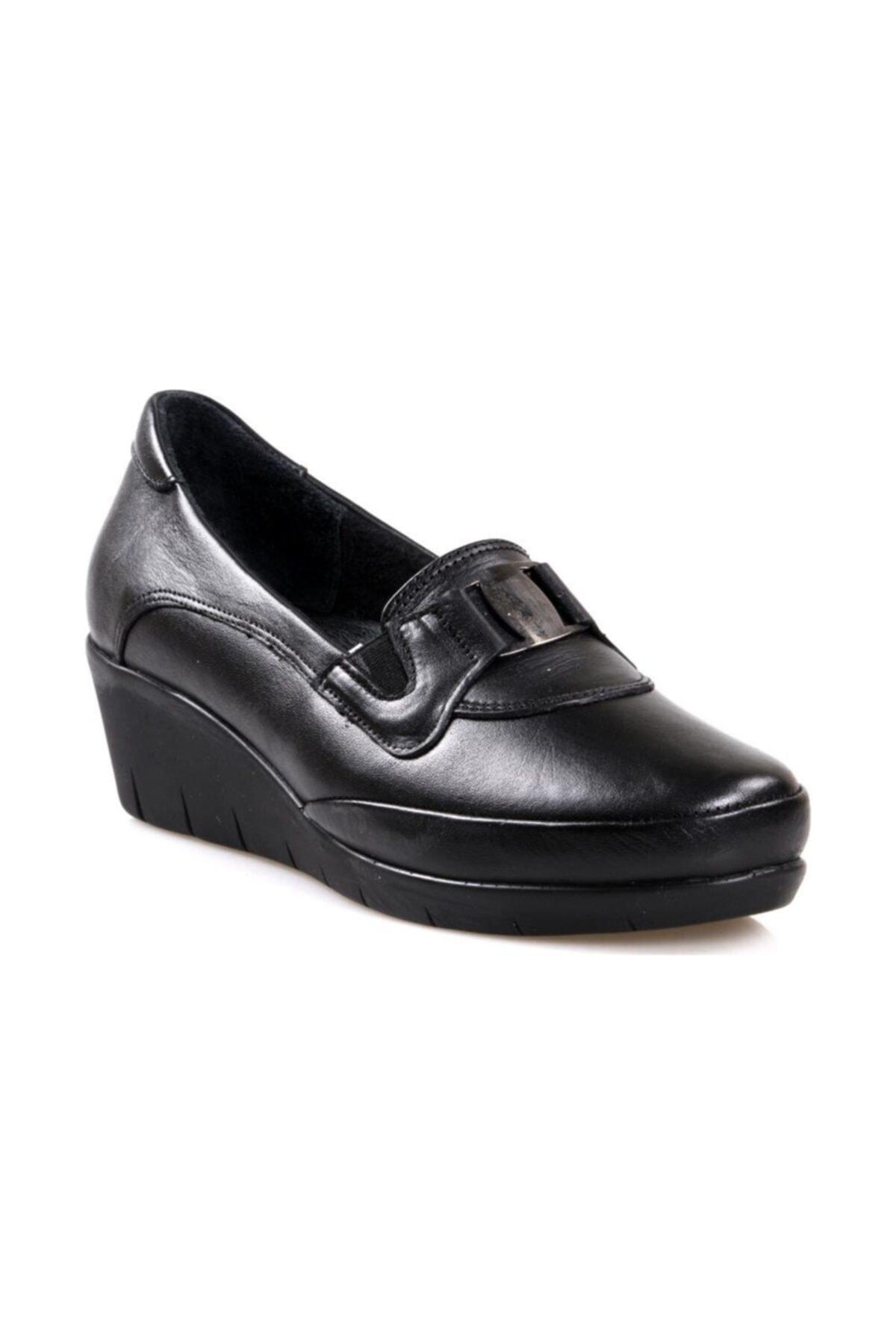Scavia 116 Siyah Ortapedik Comfort Deri Kadın Ayakkabısı 1